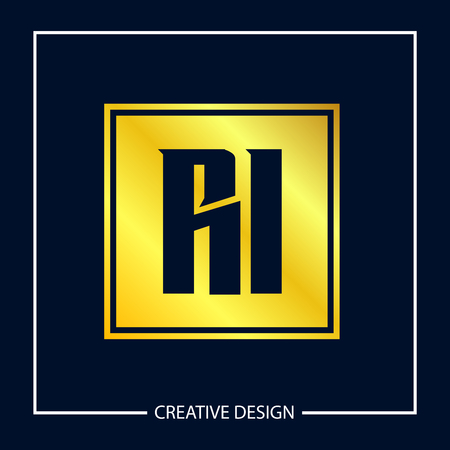 Initial Letter RI Logo Template Design Vector Illustration Stock fotó - 113001182