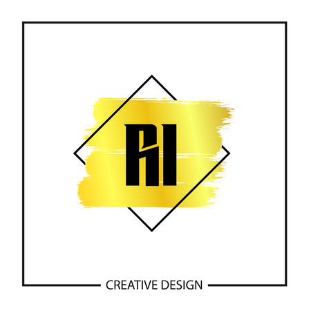 Initial Letter RI Logo Template Design Vector Illustration Stock fotó - 113001950
