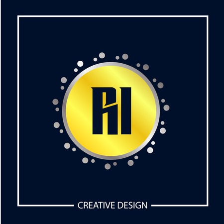 Initial Letter RI Logo Template Design Vector Illustration Stock fotó - 113002022