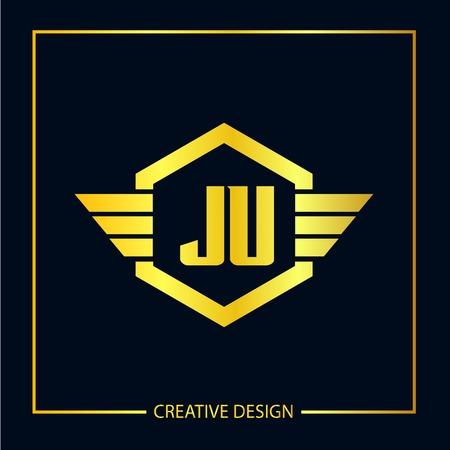 Initial Letter JU Logo Template Design Vector Illustration 向量圖像