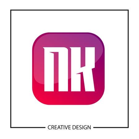 Initial Letter NK Logo Template Design Vector Illustration Illusztráció