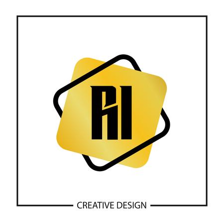 Initial Letter RI Logo Template Design Vector Illustration Stock fotó - 113001730
