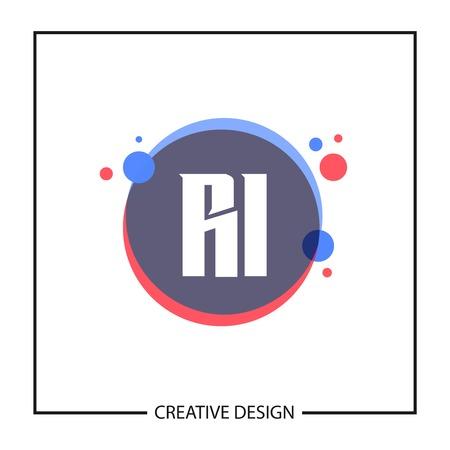 Initial Letter RI Logo Template Design Vector Illustration Stock fotó - 113332505