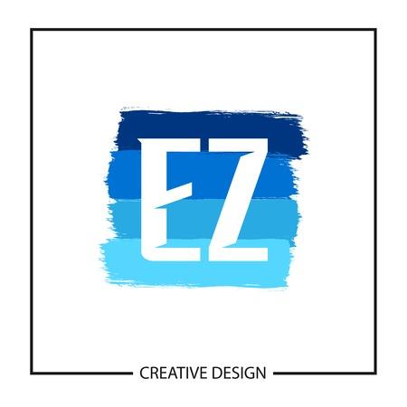 Initial Letter EZ Logo Template Design Vector Illustration Çizim