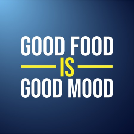 good food is good mood. Life quote with modern background vector illustration Иллюстрация