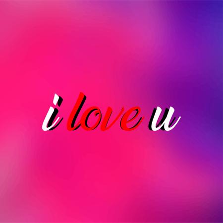Ich liebe dich. Liebeszitat mit moderner Hintergrundvektorillustration