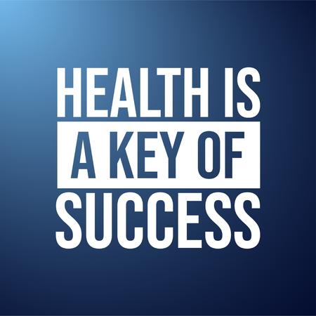 La salud es la clave del éxito. Cita de motivación con la ilustración de vector de fondo moderno