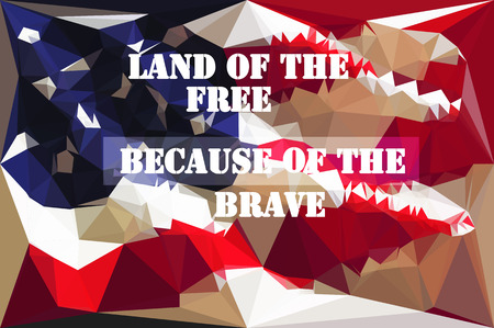Low Poly American Indenpendence Day Typographical Backgroundposter . vector