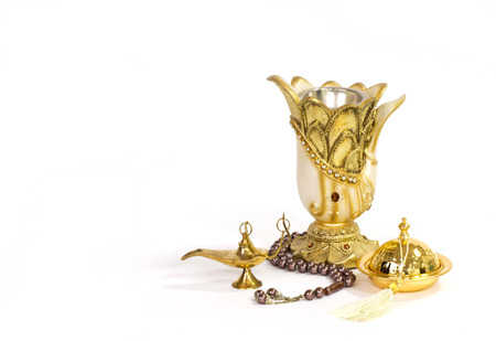 Antique Vase, rosary and incense Standard-Bild