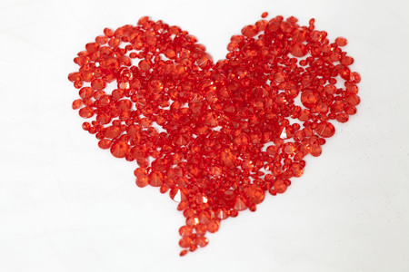 Red heart of crystal strass for celebration occasions Stock Photo