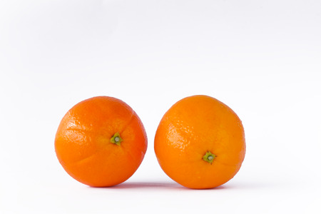 two fresh oranges fruit isolated photo