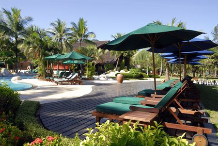 nexus: Pool side at Nexus Beach Resort Sabah. Stock Photo