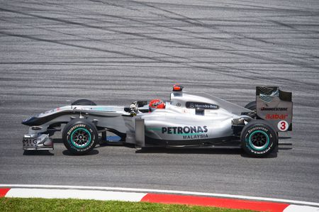 michael schumacher: Sepang F1 Circuit, Malaysia - April 2, 2010 � Michael Schumacher of  Petronas Mercedes GP formula one racing team practicing during Petronas Malaysian Grand Prix 2010 April 2-4, Sepang.