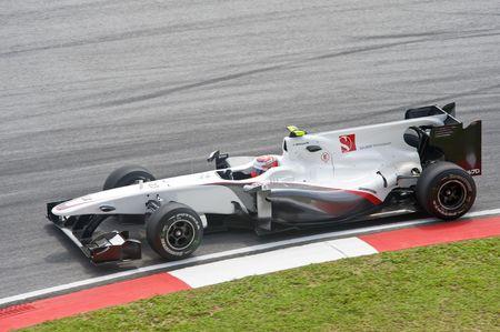 sauber: Sepang F1 Circuit, Malaysia - April 2, 2010 � Kamui Kobayashi of  BMW Sauber formula one racing team practicing during Petronas Malaysian Grand Prix 2010 April 2-4, Sepang