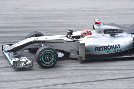 michael schumacher: Sepang F1 Circuit, Malaysia - April 2, 2010 � Michael Schumacher of  Petronas Mercedes GP formula one racing team practicing during Petronas Malaysian Grand Prix 2010 April 2-4, Sepang Editorial