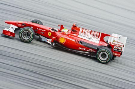 Sepang F1 Circuit, Malaysia - April 2, 2010 – Felipe Massa the driver for Scuderia Ferrari Marlboro Formula One racing team testing the car during Petronas Malaysian Grand Prix 2010 April 2-4, Sepang.