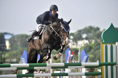 caballo saltando: Putrajaya, Malasia - 15 de mayo de 2010 - A competidor actuando en la competencia de salto de show durante la Premier Cup 2010 Editorial