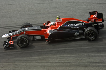 Sepang International Circuit, Malaysia - April 08th to 10th, 2011 – Jerome d'Ambrosio the driver for Virgin-Cosworth Formula One racing team testing the car during Petronas Malaysia Grand Prix 2011. Stock Photo - 9272021