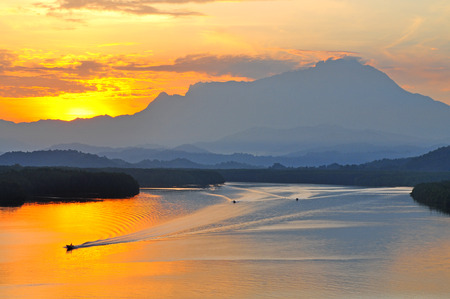 Beautiful sunrise at Mengkabong River Kota Kinabalu Sabah Malaysia. Stock Photo