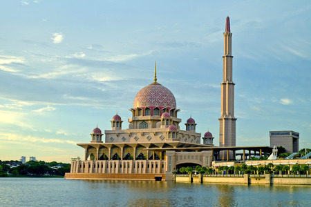 Putra Mosque, Putrajaya during sunny day moment