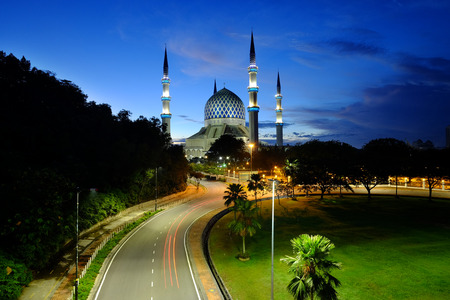 malaysia culture: The beautiful Sultan Salahuddin Abdul Aziz Shah Mosque also known as the Blue Mosque located at Shah Alam, Selangor, Stock Photo