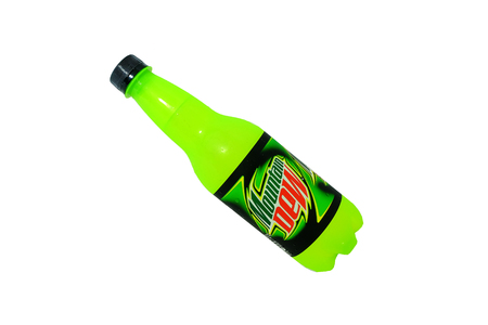 KUALA LUMPUR, MALAYSIA - September 14, 2015. Can of Mountain Dew drink isolated on white. Mountain Dew citrus-flavored soft drink produced by PepsiCo. Mountain Dew was introduced in 1940