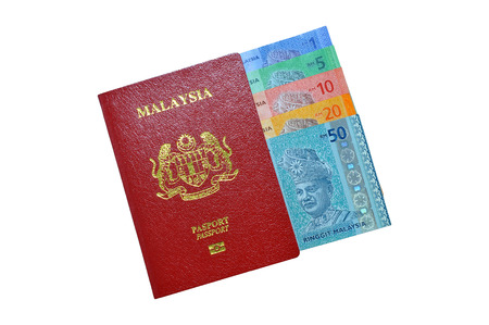 foreign nation: Malaysia bank notes and Malaysia Passport Stock Photo