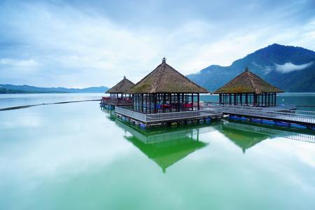 Floating Restaurant on Lake Kintamani in Bali, Indonesia. Stock Photo
