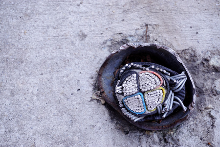 under ground: Abandon under ground cable on the floor.