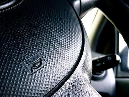 miror: Interior economical car driver view. Automotive safety concept.