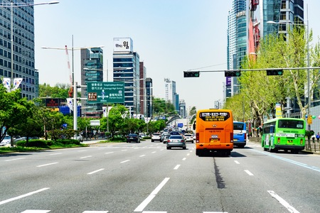 View of city traffic in Seoul at noon. Noon is one of pick hours during weekday for heavy traffic in Seoul. 
