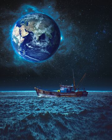 boat sailing at night on different plant with earth in space background fantasy
