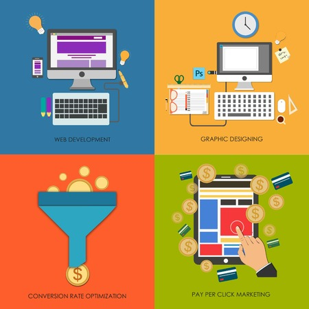 ppc: Set of flat design concept icons for web development, graphic designing, pay per click, conversion rate optimization, CRO, PPC