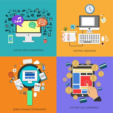 Set of flat design concept icons for social media marketing, graphic designing, search engine optimization, pay per click, SMM, SEO, PPC photo