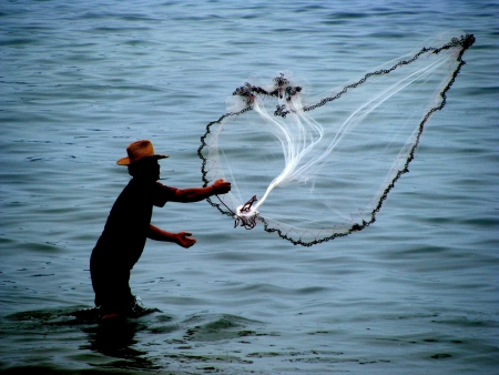 Fisherman in action