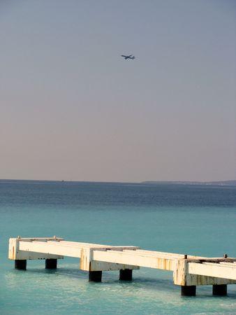 airplane over the mediterranean sea Stock Photo - 4392586