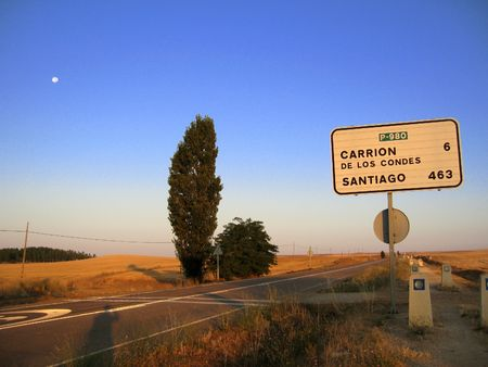 sign post on the pilgramage to santiago  photo