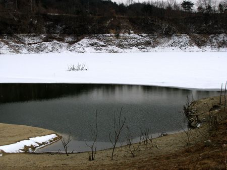 religious service: a lake covered with snow