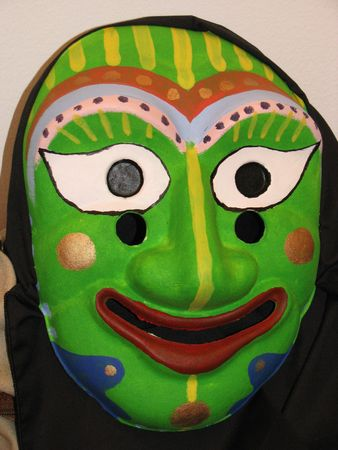 korean traitional mask in green color Stock Photo