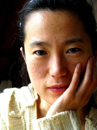 young pretty korean woman face