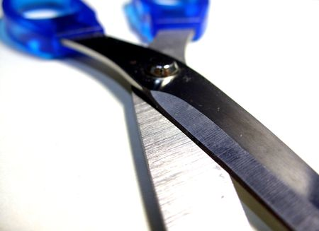 gash: scissors with blue handle Stock Photo