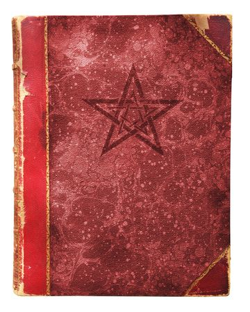 occult book with pentagram and free copy space, isolated against white background