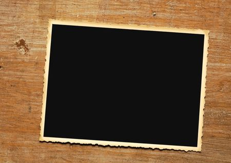 deckled: Vintage photo frame on grungy background, deckle edged Stock Photo