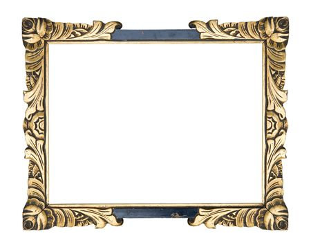 flowery: antique frame art-nouveau, vintage item isolated on white background, free picture space Stock Photo