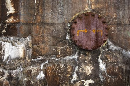 industrial background: grungy wall with rusted flange  Stock Photo - 5091049