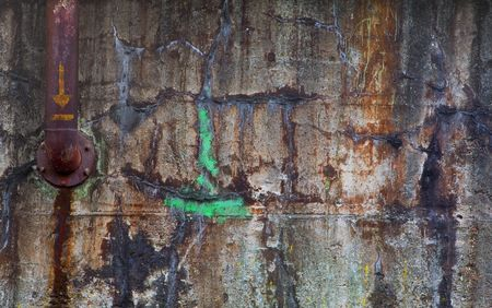 Grungy wall with rusted pipe, industrial background,wallpaper, Stock Photo - 5091050