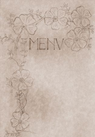 monochromic: vintage hand drawn menu card, cover with free copy space, large file format use it also as promotional poster artwork