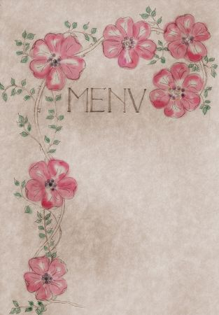 vintage hand drawn menu card,  cover with free copy space, large file format use it also as promotional poster artwork,  hand colored version Stock Photo - 5164431