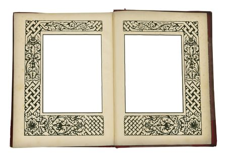 vintage book opened, with ornamented picture frames, rich ornamented art nouveau frames, exlibris photo