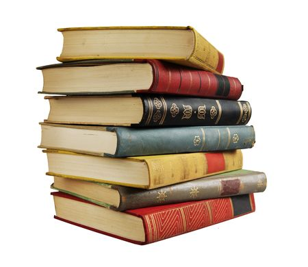 stack of vintage books, isolated on white background, free copy space Stockfoto